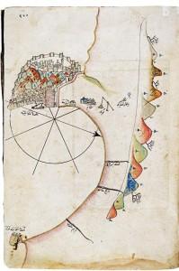 """Piri Reis, Alanya kıyılarını ve görkemli kaleyi haritada böyle gösteriyor. Kent hakkında ise şunları söylüyor: """"Alanya'nın denizden nişanı, yüksek dağlardaki üç kuledir. Alanya ada gibi bir burundur. Burun hep dağlıktır. Dağın üzeri de hep kaledir. Alanya önü açıklıktır. Yaz günü için demir atma yeridir."""""""