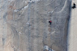 Climber Jorgeson climbs Pitch 18 of the Dawn Wall as a cameraman records on the El Capitan rock formation in Yosemite National Park | Atlas |