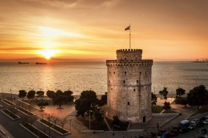 Romantic sunset watching the White Tower of Thessaloniki   Atlas  